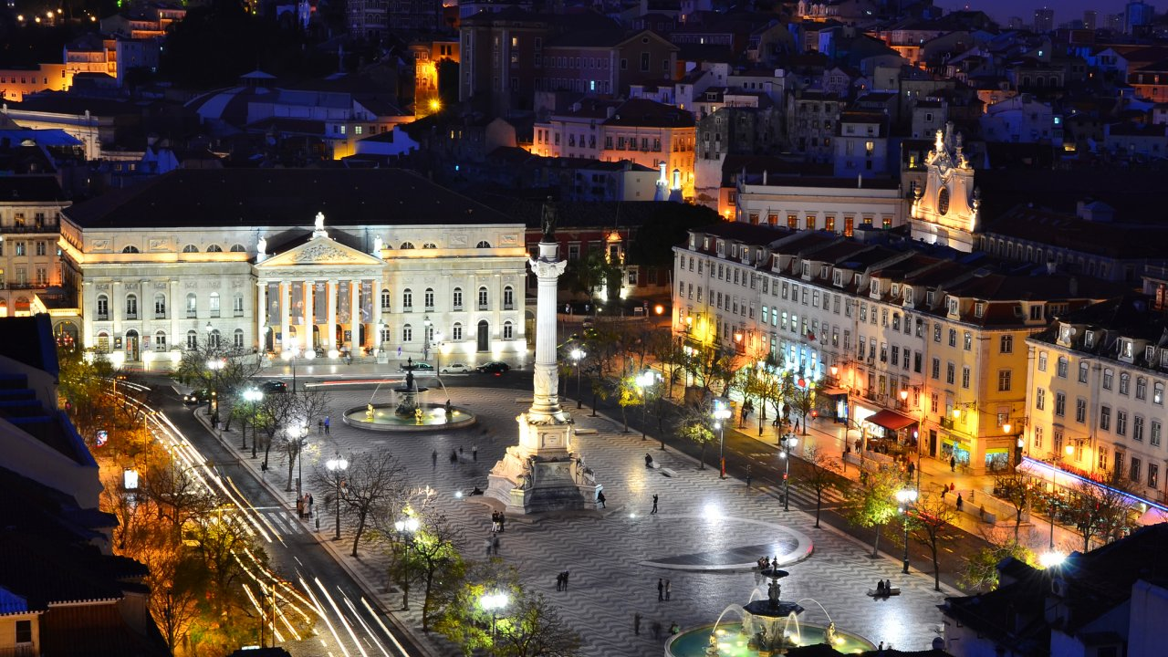 RossioSquare at night Lisbon, Portugual